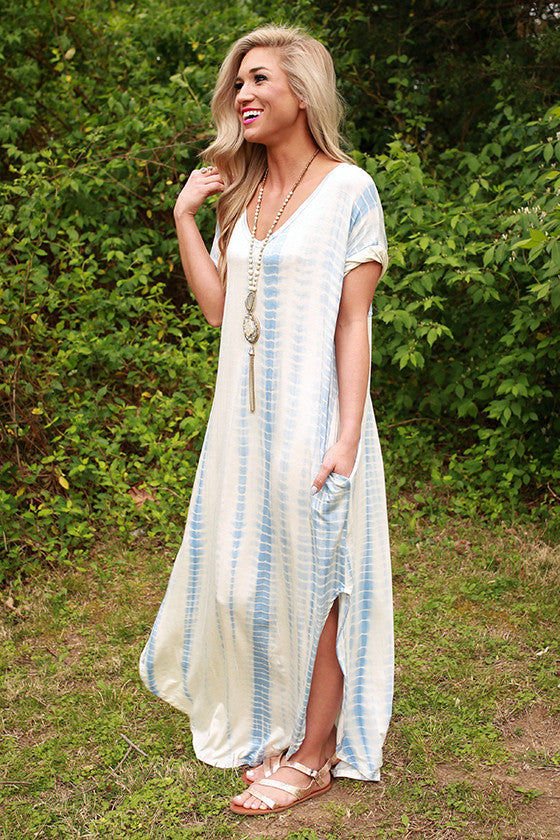 Beachy Keen Tie Dye T-shirt Maxi in Sky Blue