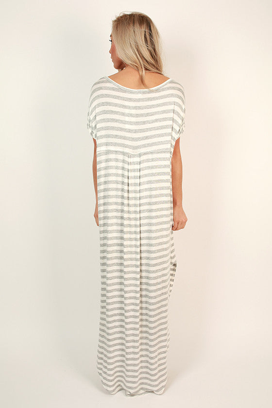 Beachy Keen Stripe T-shirt Maxi in Grey