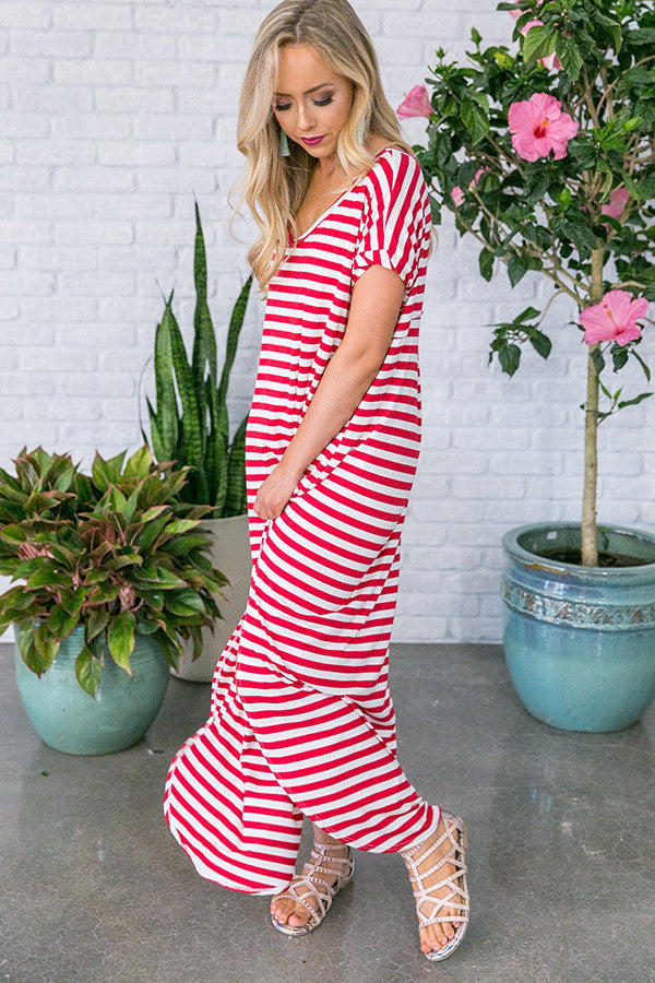 Beachy Keen Stripe T-shirt Maxi in Red
