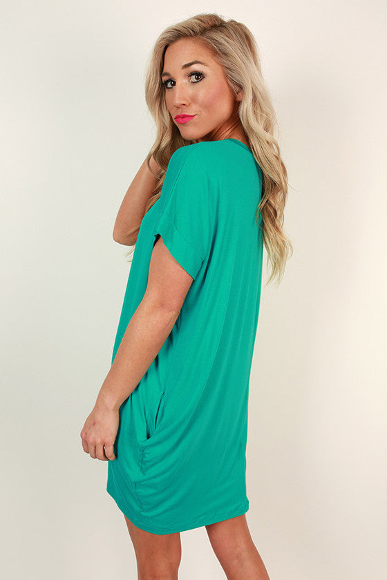 Beachy Keen T-Shirt Dress in Jade