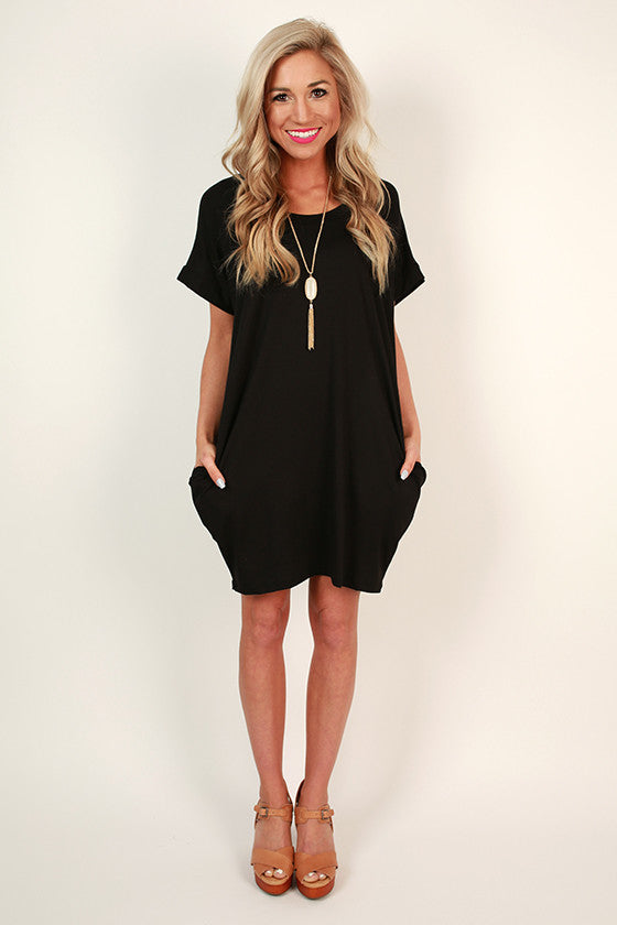 Beachy Keen T-Shirt Dress in Black