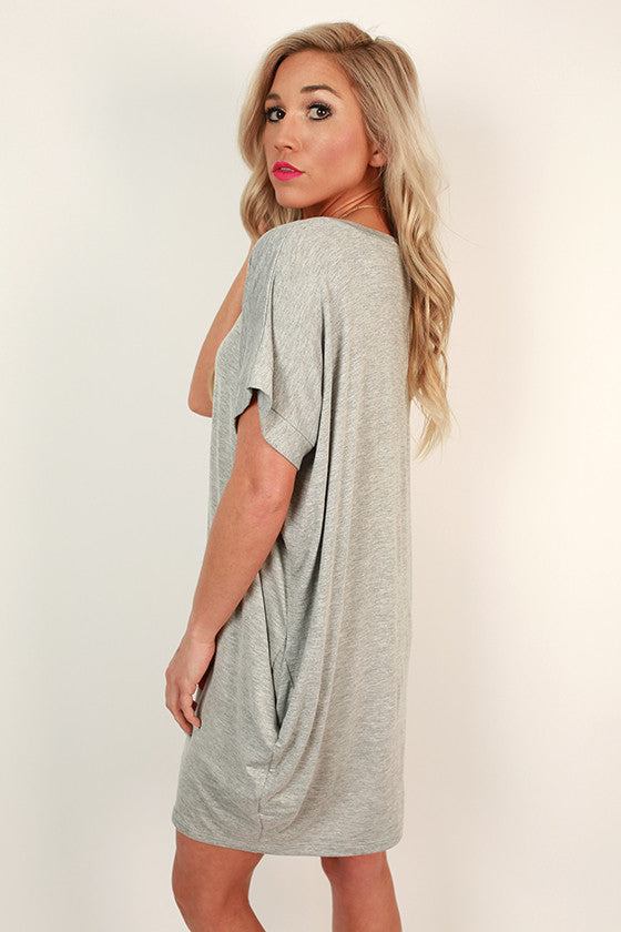Beachy Keen T-Shirt Dress in Grey