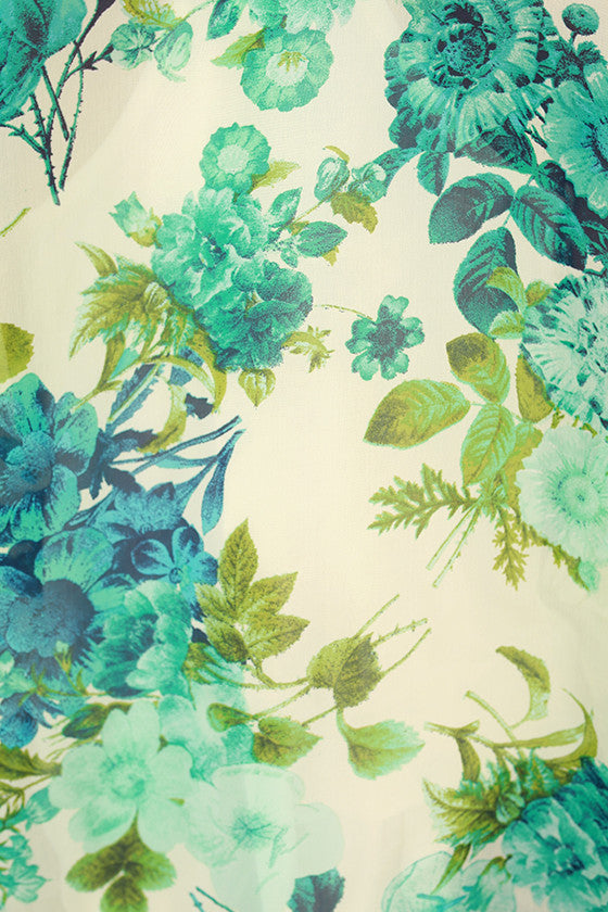 Flying First Class Floral Overlay in Mint