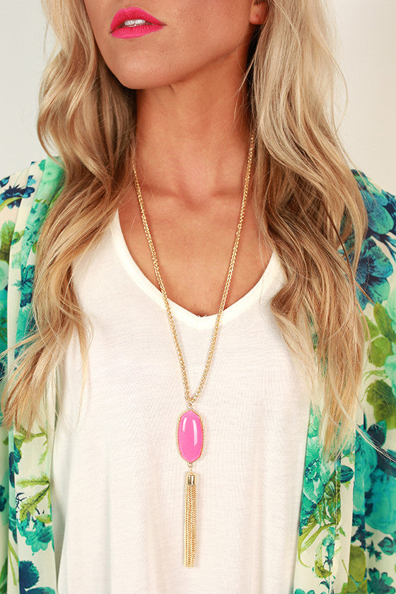 Take Center Stage Stone Tassel Necklace in Hot Pink