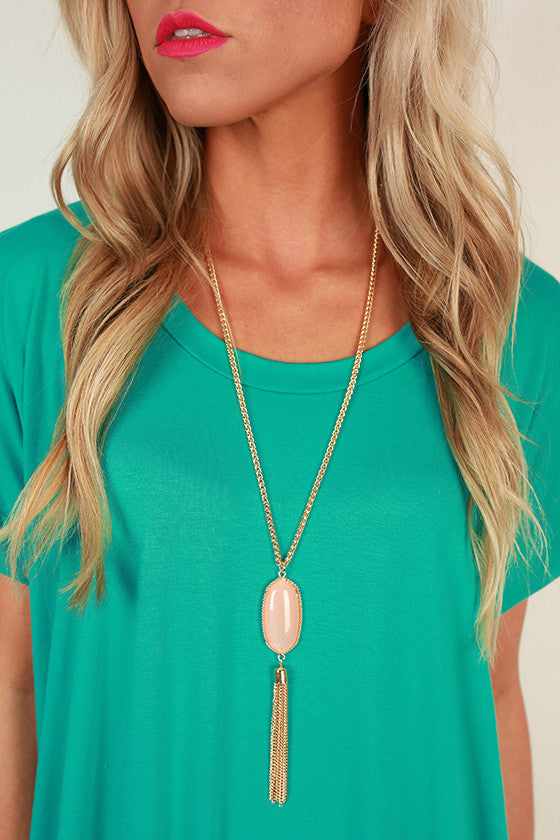 Take Center Stage Stone Tassel Necklace in Peach