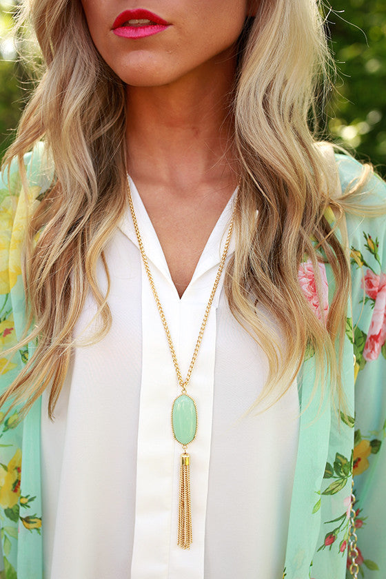 Take Center Stage Stone Tassel Necklace in Ocean Wave