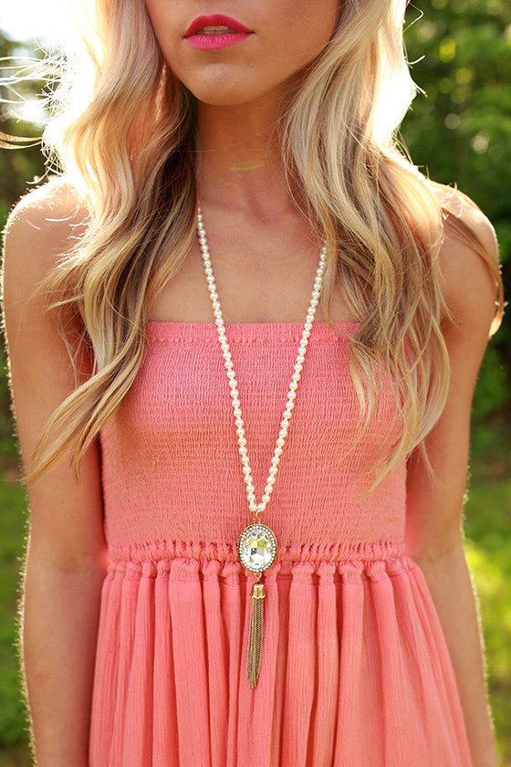 Pep Up Pave & Pearl Necklace