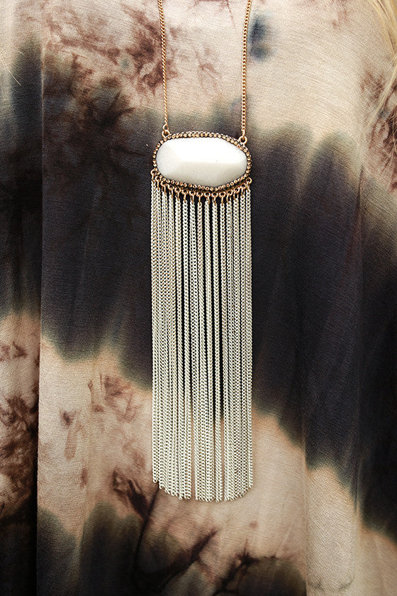 Toast To Me Quartz Tassel Necklace in White