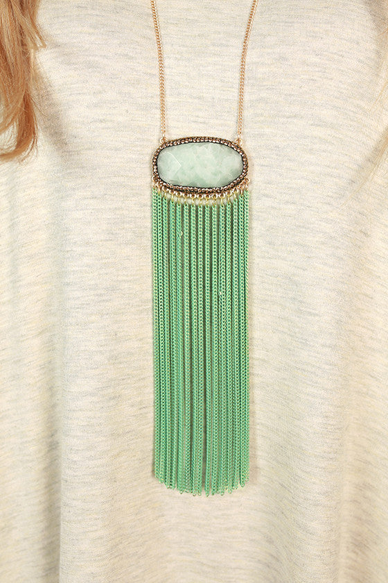 Toast To Me Quartz Tassel Necklace in Mint