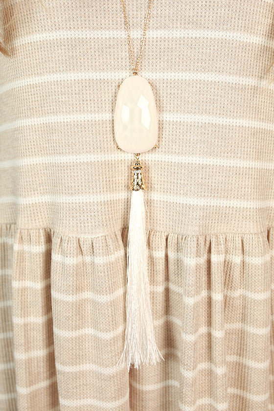 Think Happy Be Happy Tassel Necklace in White
