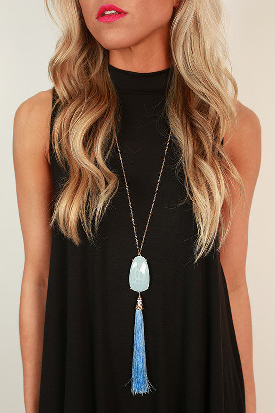 Think Happy Be Happy Tassel Necklace in Serenity