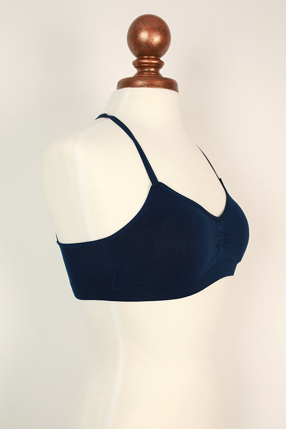 Basic Halter Bra in Navy
