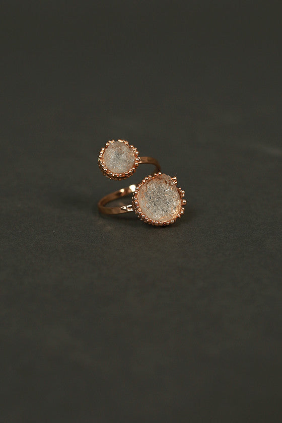 Center of The Universe Adjustable Druzy Ring in Clear