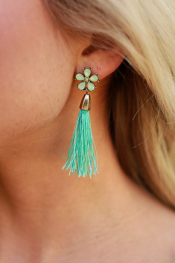 Mint For You Tassel Earrings