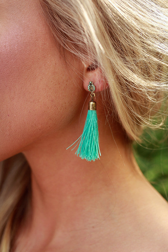 Fancy Meeting You Here Tassel Earrings in Turquoise