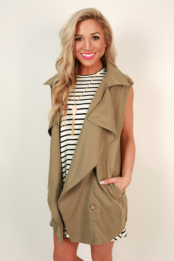 Fun in Florence Sleeveless Trench in Sage
