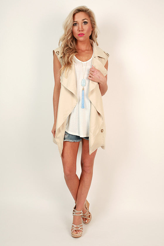 Fun in Florence Sleeveless Trench in Stone