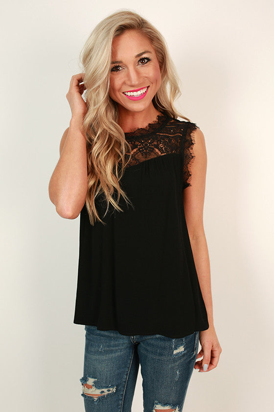 Beautiful Soul Lace Shift Tank in Black