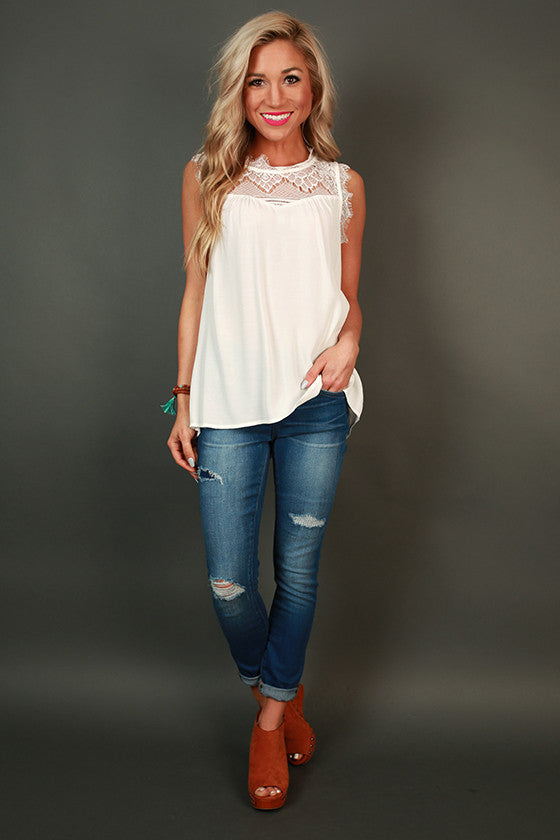 Beautiful Soul Lace Shift Tank in White