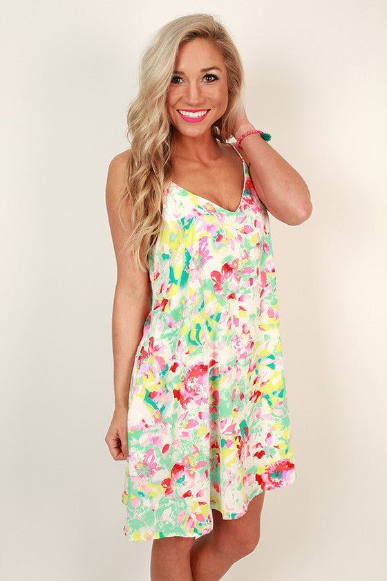 Day Dreamer Floral Shift Dress in White