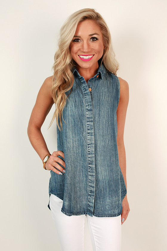 Let's Celebrate in Chambray Button up Top
