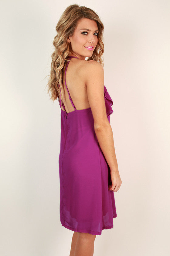 Struck by Beauty Chiffon Shift Dress in Orchid