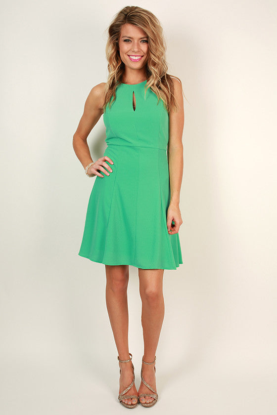 Look Good For Ya Fit & Flare Dress in Jade