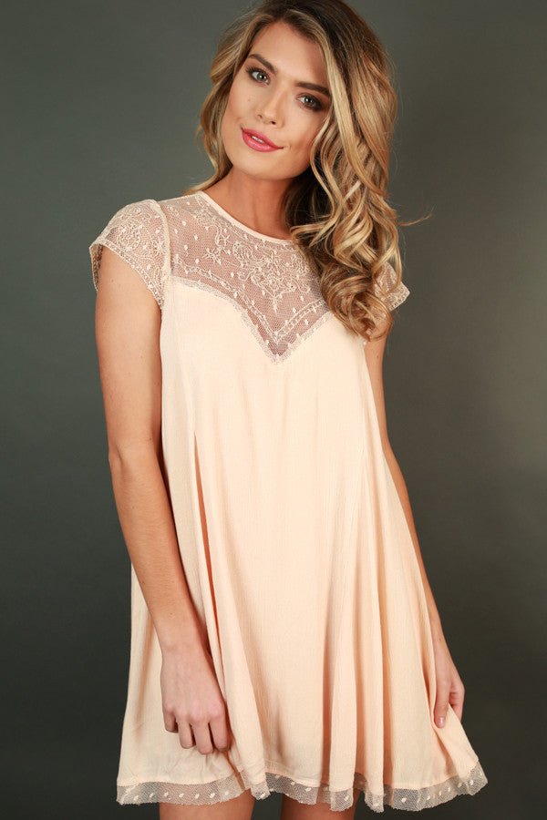 Romance in Venice Shift Dress in Nude