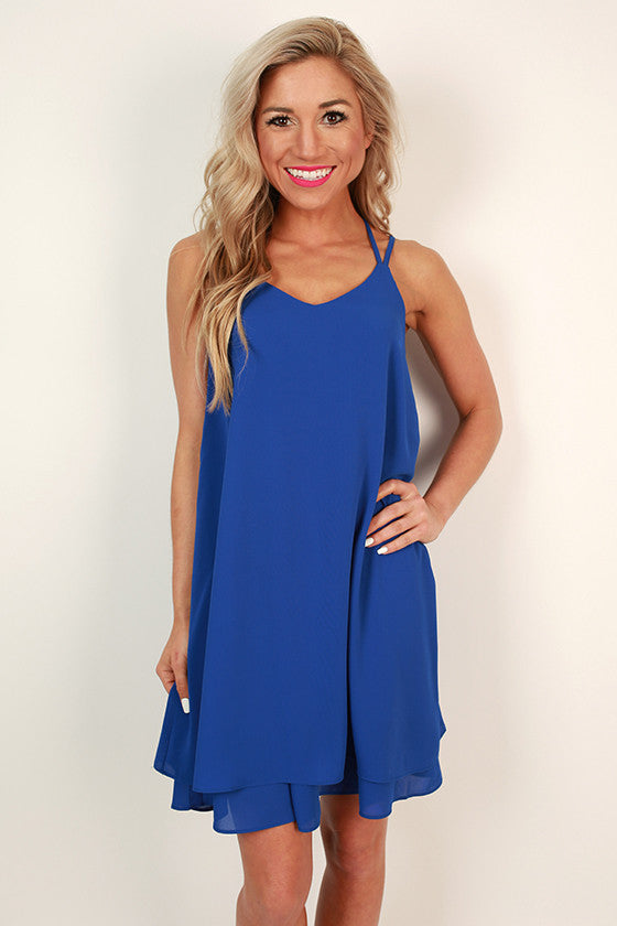 Bliss in Brighton Shift Dress in Royal Blue