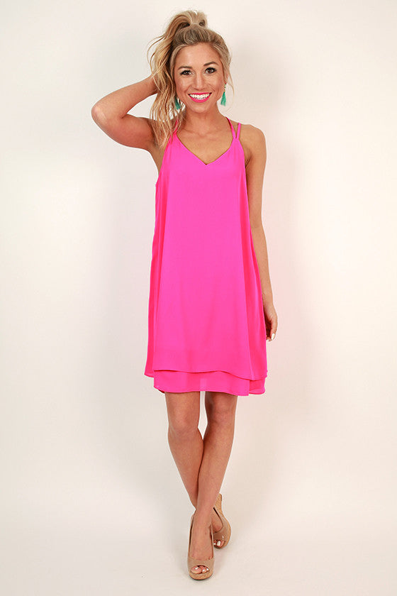 Bliss in Brighton Shift Dress in Fuchsia