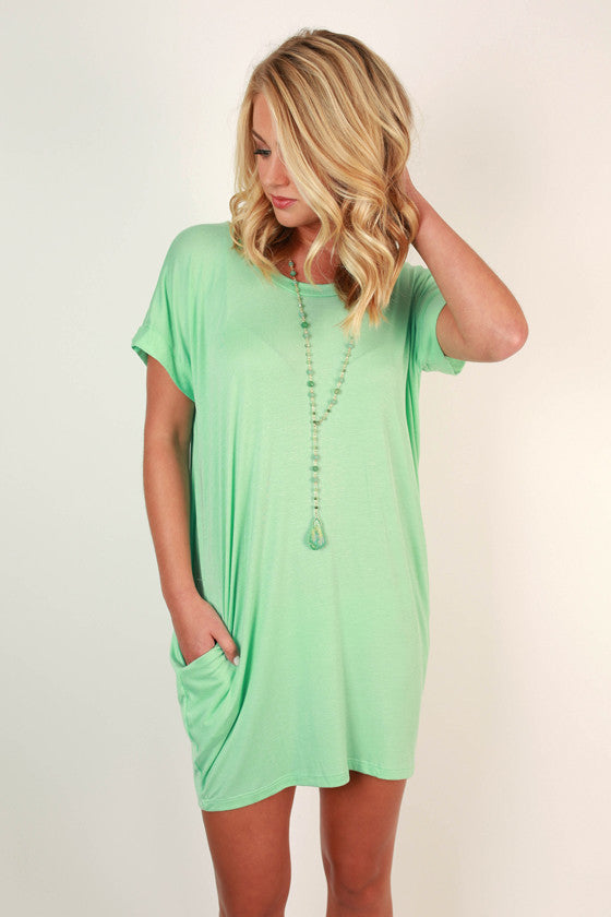 Beachy Keen T-Shirt Dress in Mint