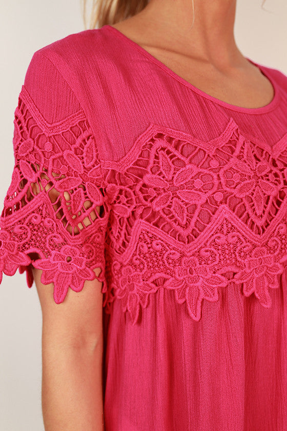 Cali Crush Crochet Top in Rose
