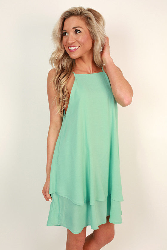 Yours Truly Tank Dress in Mint