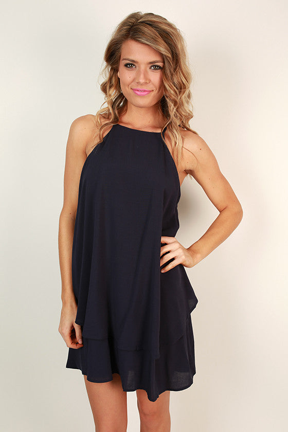 Yours Truly Tank Dress in Navy