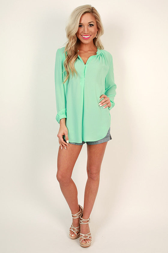Juniper Darling Snap Top in Sea Glass