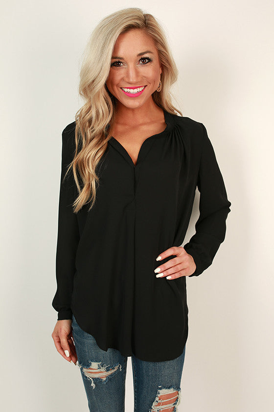 Juniper Darling Snap Top in Black