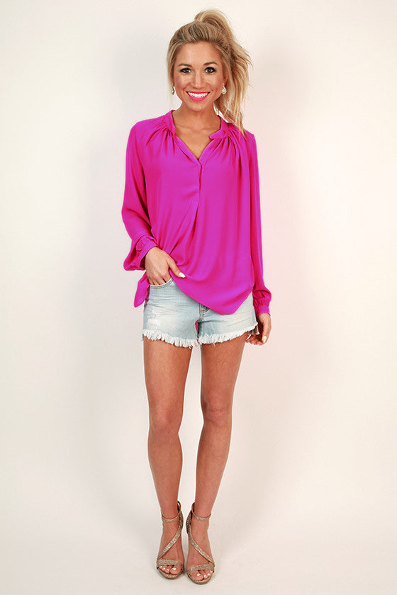 Juniper Darling Snap Top in Deep Fuchsia
