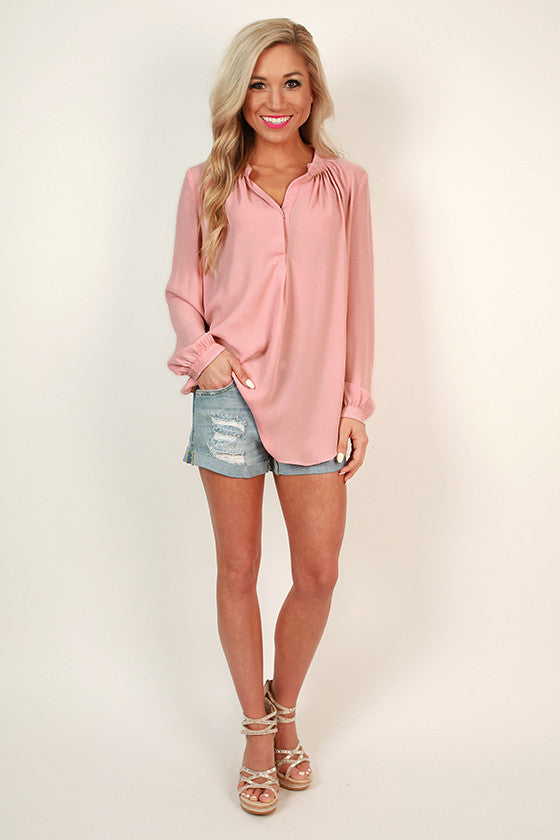 Juniper Darling Snap Top in Rose Quartz