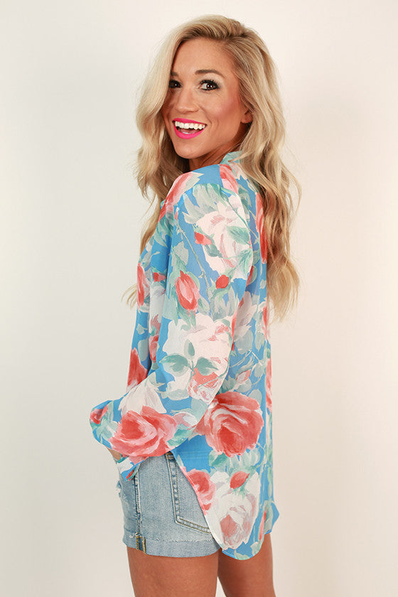 Juniper Darling Floral Top in Sky Blue