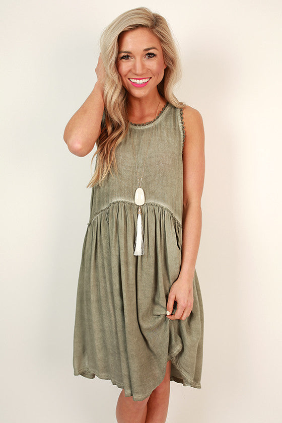 Style Crush Babydoll Dress in Sage