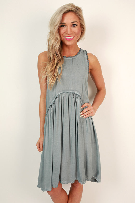 15cc8d607ac Style Crush Babydoll Dress in Light Slate • Impressions Online Boutique