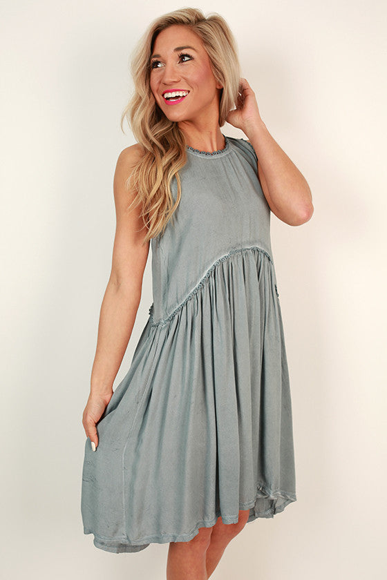 Style Crush Babydoll Dress in Light Slate