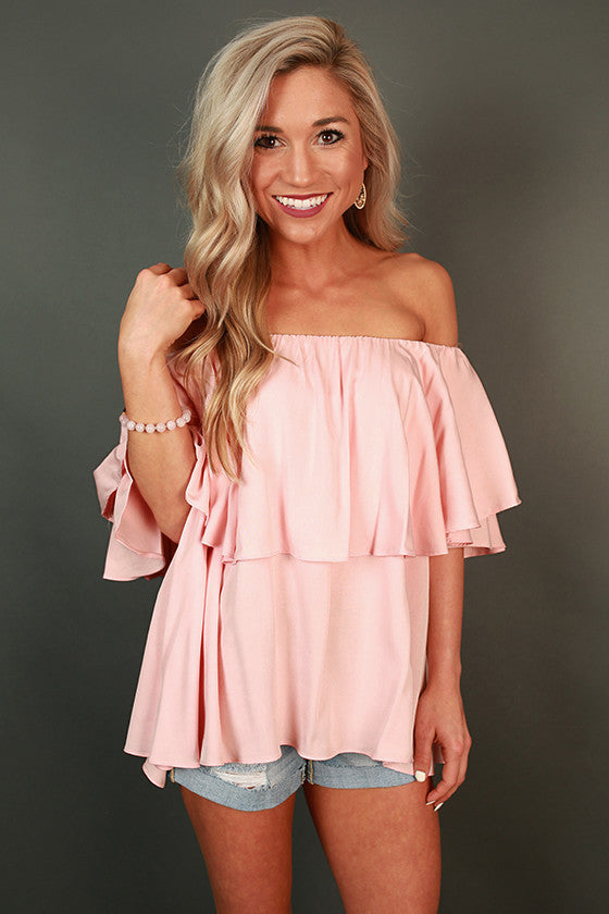 High Society Off Shoulder Ruffle Top in Pink