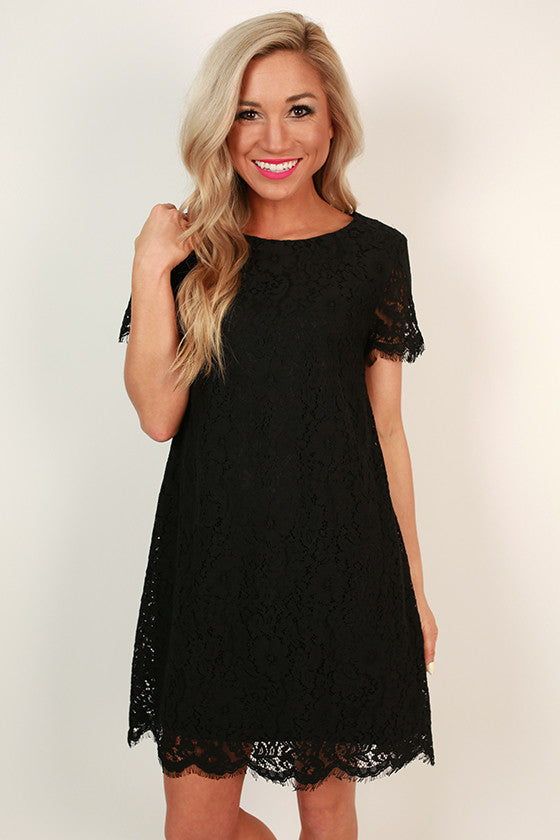 Forever Chic Lace Shift Dress in Black