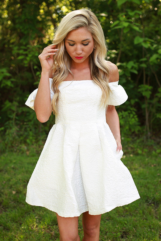 Palm Beach Princess Off Shoulder Dress in White