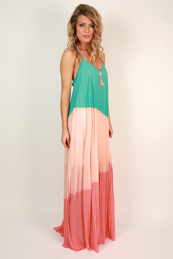 Take Time For Tea Maxi Dress in Ocean Wave