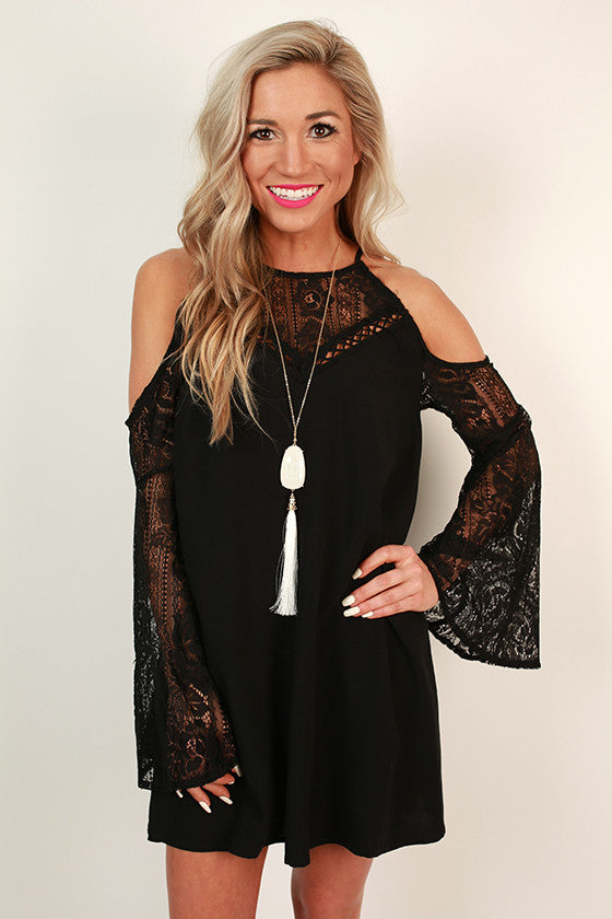Catch My Drift Cold Shoulder Dress in Black
