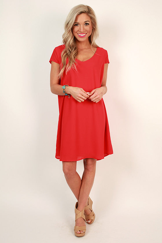 The Chic Life Shift Dress in Red