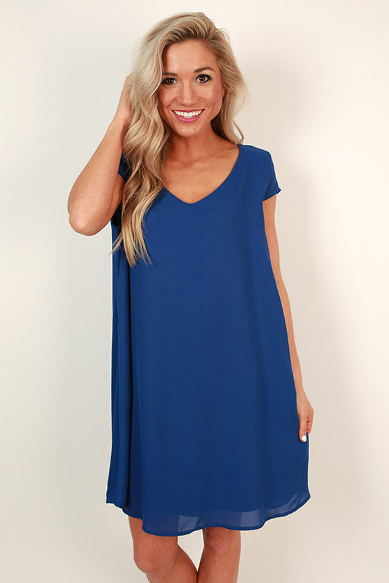The Chic Life Shift Dress in Sapphire