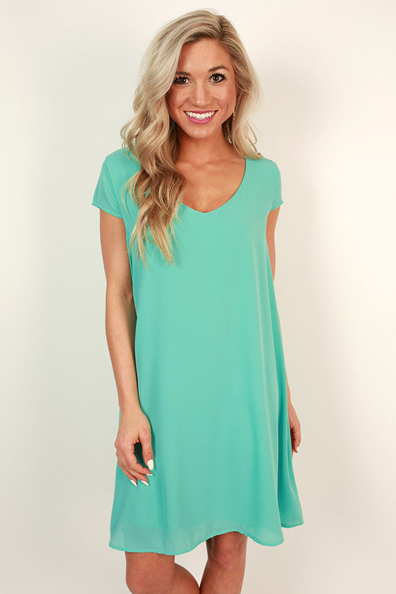 The Chic Life Shift Dress in Aqua